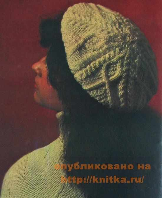 вязание беретов спицами фото, берет с косами