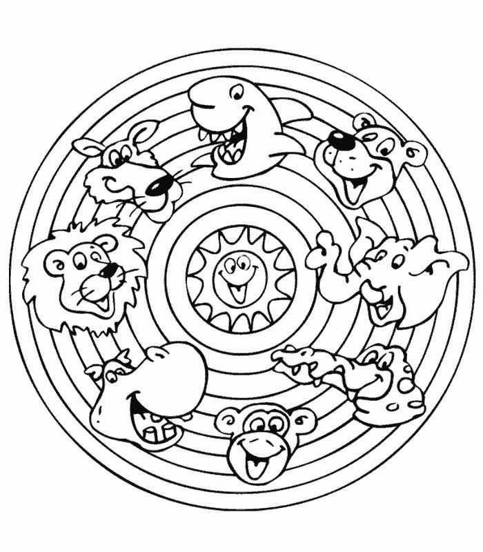 Мандала с животными для детей