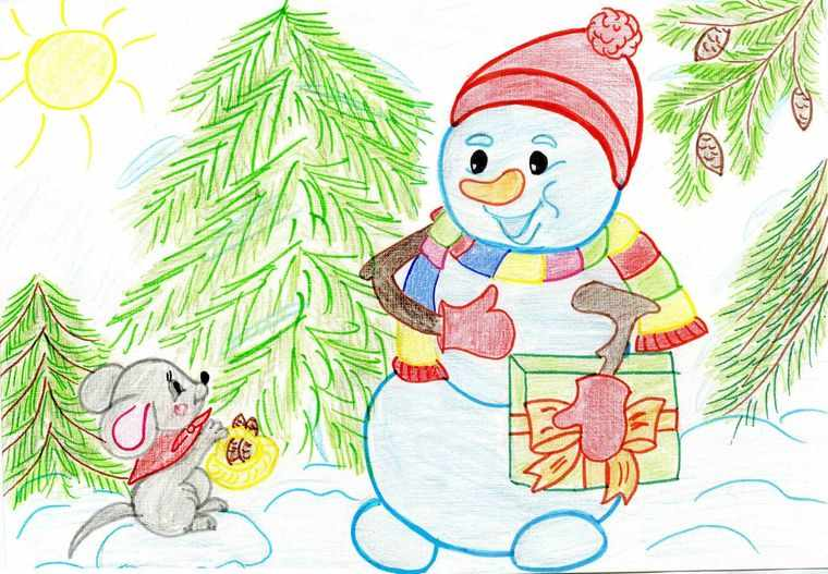 снеговик и мышонок