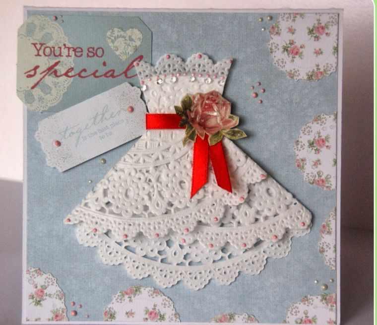 открытка из ажурной салфетки
