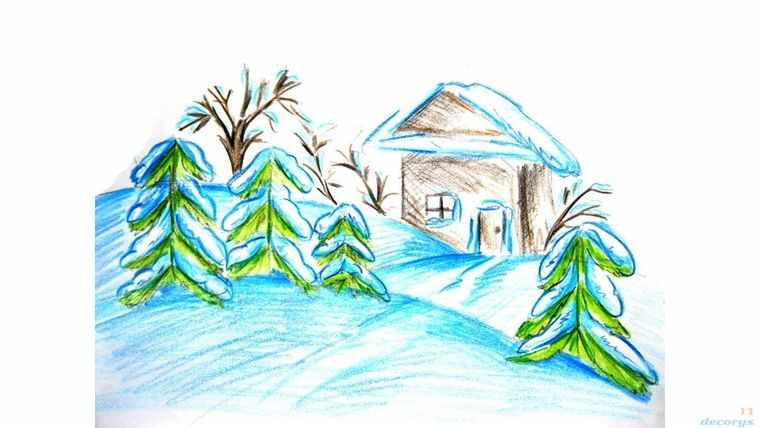 зима на детском рисунке